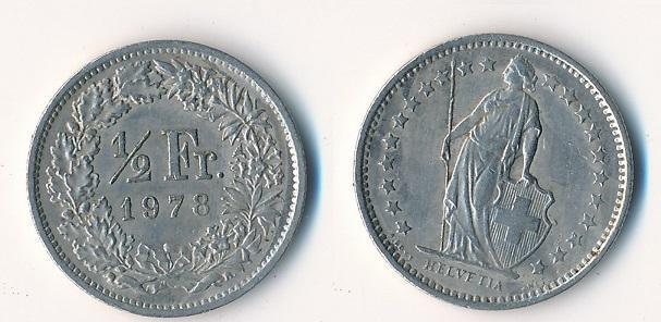 Švýcarsko 1/2 frank 1978