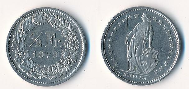 Švýcarsko 1/2 frank 1979