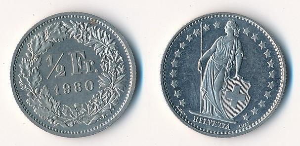 Švýcarsko 1/2 frank 1980