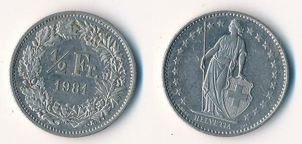 Švýcarsko 1/2 frank 1981
