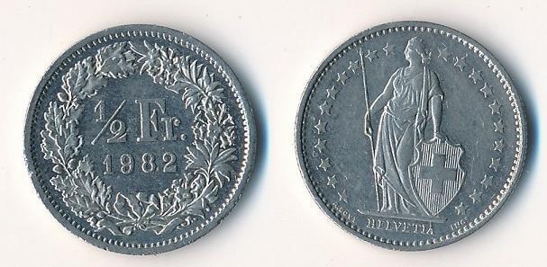 Švýcarsko 1/2 frank 1982