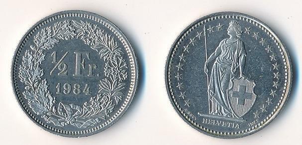 Švýcarsko 1/2 frank 1984