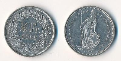 Švýcarsko 1/2 frank 1988
