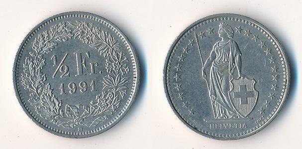 Švýcarsko 1/2 frank 1991