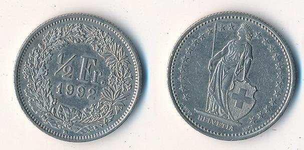 Švýcarsko 1/2 frank 1992