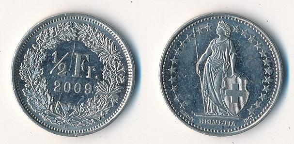 Švýcarsko 1/2 frank 2009