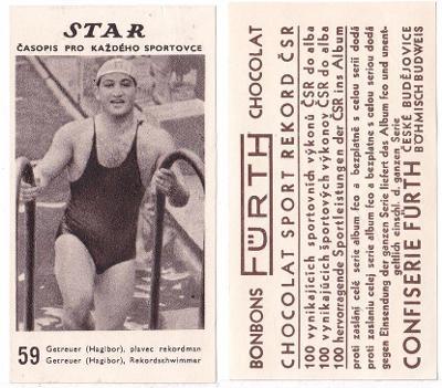 Kartička STAR č.59 - plavec Getreuer