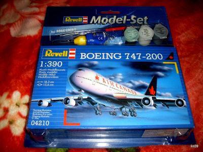 REVELL MODEL-SET--BOEING 747-200-MĚŘÍTKO--1:390-NOVÉ-NEROZBALENO-INFO.
