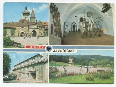 BOUZOV, o. Olomouc - hrad, zbrojnice, hotel JAVOŘÍČKO, památník