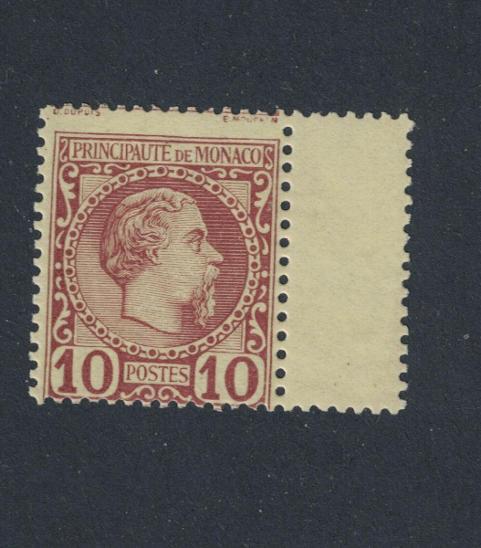 Monaco 1885 Mi4, ** 300€, s okrajem!!!, posun tisku - Filatelie