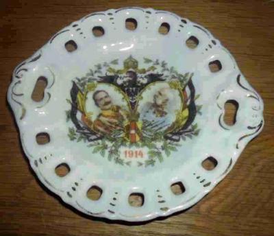 Upomínkový talířek. Franc Josef a Wilhelm II