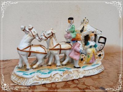 *** Nádherné porcelánové malované koňské spřežení ***