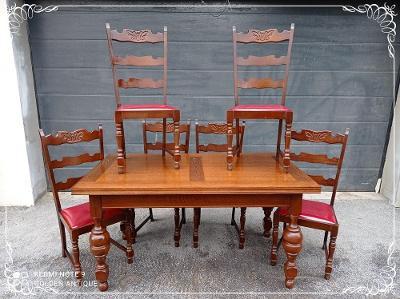 *** Starožitný dřevěný zdobený jídelní stůl se 6ti židlemi ***