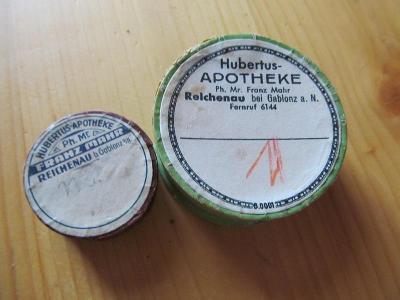2.KRABIČKY HUBERTUS, APOTHEK,GABLONZ a N.5,5x2,2.a 3,6x1,4cm.