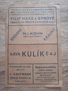 účtenka - PALACE HOTEL PRAHA 2- FILIP HAAS KOHN KULÍK KAUFMANN MATADOR