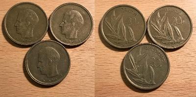 20 Franc 1980,1981 vlámský + 1981 francouzský (BELGIE)