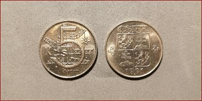 5 koruna 1991 mince Československo (5 Kčs ČSFR)