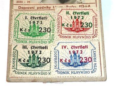 1973  Autobus  tramvaj  DP    jízdenka  průkaz  známka