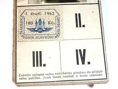 1962  Autobus  tramvaj  DP    jízdenka  průkaz  známka