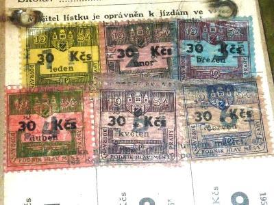 1953 - 54   Autobus  tramvaj  DP    jízdenka  průkaz  známka