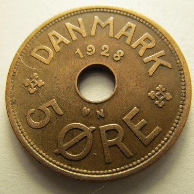 Dánsko - 5 Ore 1928 Bronz