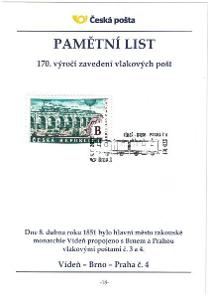 Pamětní list Česká pošta s.p.