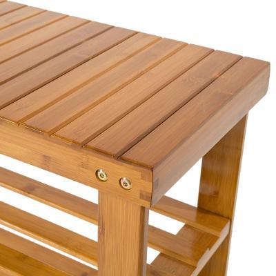tectake 401650 bambusový botník s lavicí 70x28x45cm - hnědá