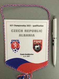 Vlajka kvalifikační zápas ME 2023 U21 ČR - ALBÁNIE, Č. Buděj. 6.9.2021