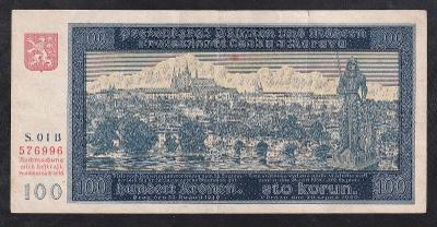 VZÁCNÁ 100 KORUNA 1940 PRVNÍ VYDÁNÍ NEJVZÁCNĚJŠÍ PRVNÍ SÉRIE 01 B!