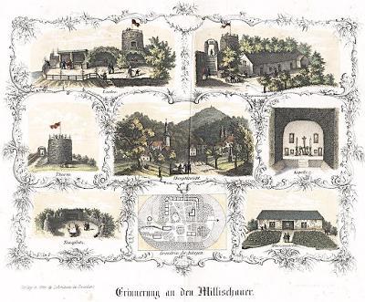 Milešovka,  Täubert, litografie, 1850