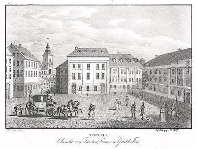 Teplice Gürtlerbad, Kunike, litografie, 1830