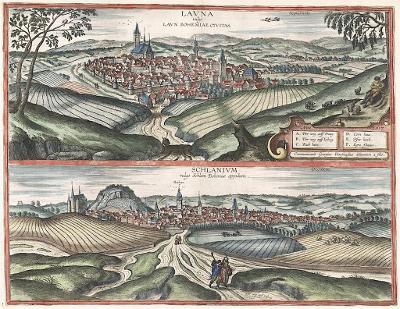 Louny Slaný, Braun Hogenberg, kolor. mědiryt 1617