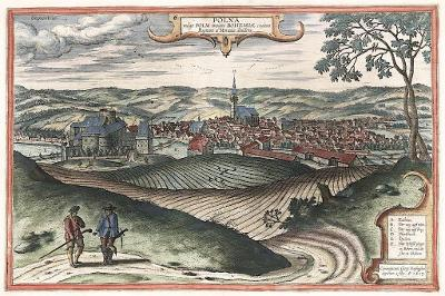 Polná, Braun Hogenberg, kolorovaný mědiryt 1617