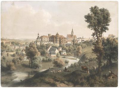 Jindřichův Hradec, Haun, kolor. litografie, 1860