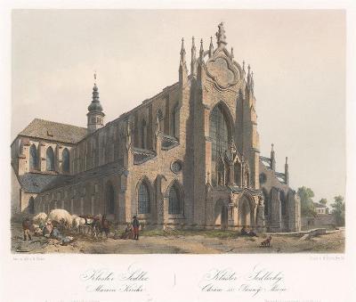Sedlec klášter, Haun, kolor. litografie, 1860