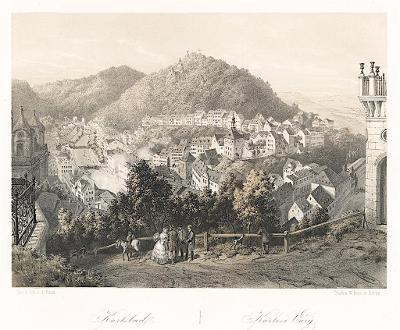 Karlovy Vary, Haun,  litografie, 1860