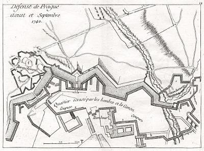 Praha oblehaní 1742, Rouge, mědiryt, 1770