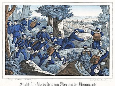 Hradec bitva Sasové, Oeser, Litografie, 1870