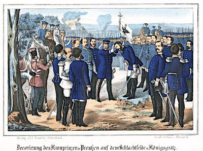 Hradec bitva vyznamenání, Oeser, Litografie, 1870