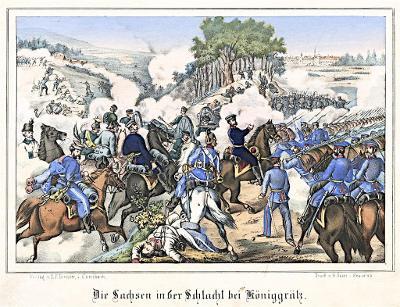 Hradec bitva Sasové II., Oeser, Litografie, 1870