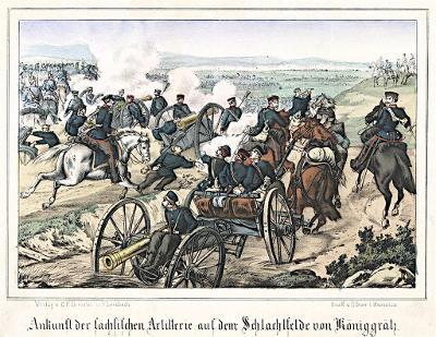 Hradec Sasové dělostřelectvo, Litografie, 1870