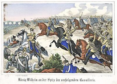 Hradec bitva král Wilhelm Oeser, Litografie, 1870