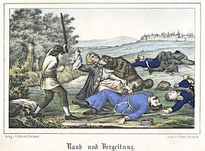 Hradec po bitvě rabování, Oeser, Litografie, 1870