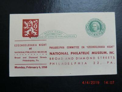 1950 ČSR2 Odpovědní karta ČSR noc v Philatelic museum Philadelphia