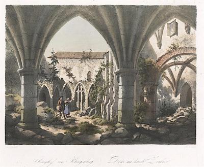 Zvíkov nádvoří, Haun,  kolor. litografie, 1860