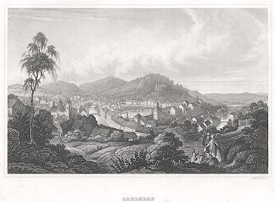 Karlovy Vary celkový, Meyer, oceloryt, 1850