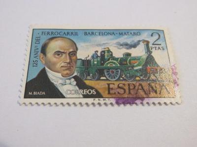 Známky Španělsko 1974, 125.výročí železnice Barcelona-Mataró