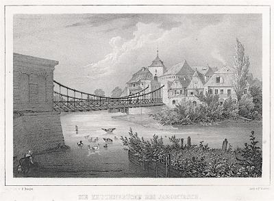 Jaroměř řetězový most, Semmler, litografie, 1845