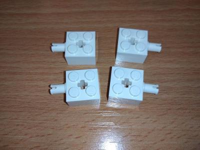 Lego díl 6232 - 4ks bílá kostka, na kola