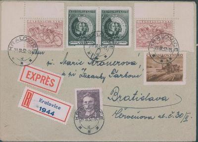 10B2485 R expres dopis Kralovice - Bratislava, bohatá frankatura